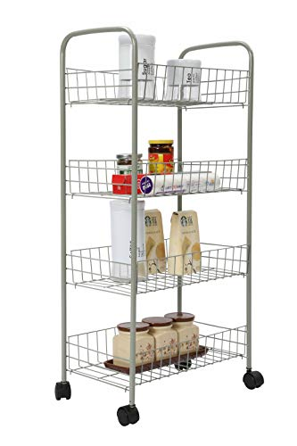 Homebi Kitchen Trolley Rolling Cart 4-Tier Kitchen Cart Metal Storage Rack Shelving Units with Wire Baskets for Cooking Utensils and Food Storage with Wheels in Grey,16.53