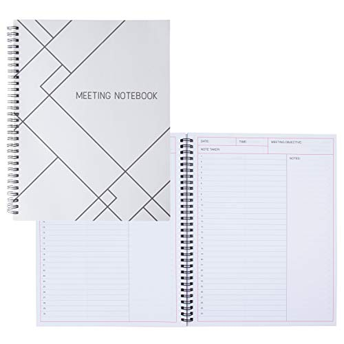 Meeting Notebook- 2-Pack Meeting Book for Notes Taking, Meeting Journal, Business Planner, 80 Sheets Each, White, 11 x 8.5 Inches
