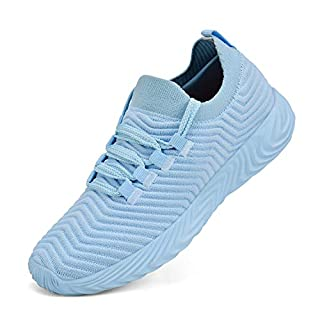 Feetmat Womens Sneakers Slip On Walking Tennis Running Shoes Ultra Lightweight Air Knitted Breathable Mesh Fashion Athletic Gym Sports Non Slip Casual Shoes Light Blue 5.5 M US