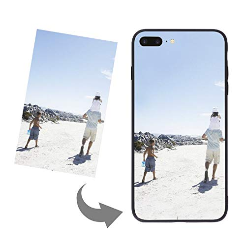 Personalized Slim Phone Case Cover for iPhone 6/6s/7/8 Plus/X/XR/XS MAX, DIY Customized Picture Photo Tempered Glass Back Cover Soft Silicone Rubber Bumper Frame Protective Case Birthday Xmas Gift
