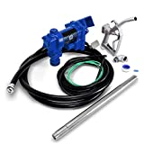 ARKSEN Fuel Transfer Pump 12 Volt 20 GPM Diesel Gas Gasoline Kerosene Car Tractor Truck Discharge Hose Manual Nozzle Suction Pipe