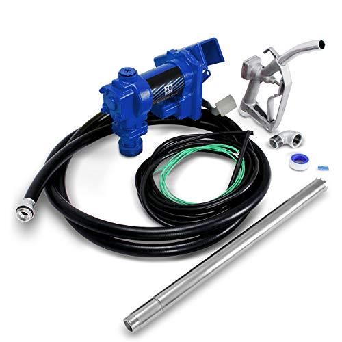 (ARKSEN Fuel Transfer Pump 12 Volt 20 GPM Diesel Gas Gasoline Kerosene Car Tractor Truck Discharge Hose Manual Nozzle Suction Pipe)