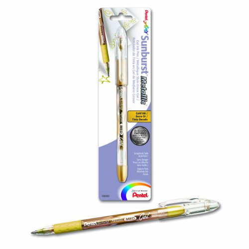Pentel Arts Sunburst Metallic Gel Pen, Medium Line, Gold Ink (K908BPX) (Pentel Gel Sunburst Metallic Ink)