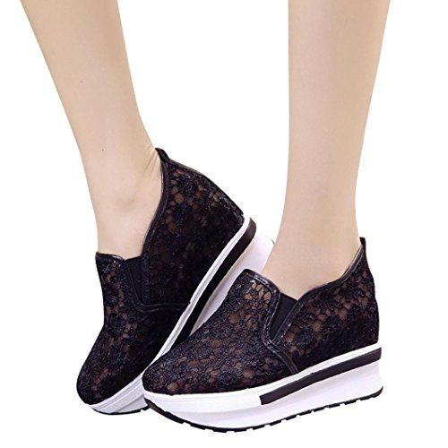 Clearance❤️Women Shoes, Neartime 2018 Fashion New Lace Mesh Shoes Casual Breathable Slip-on High Platform Shoes (Platforms Stretch Lace)