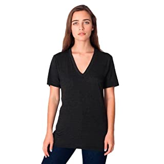 American Apparel  Unisex Tri-Blend Short Sleeve V-Neck, Tri/Black, Large