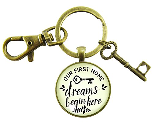 (Our First Home Keychain Dreams Begin Here Homeowner Home Buyers Gift Vintage Hipster Style Pendant Key Charm)