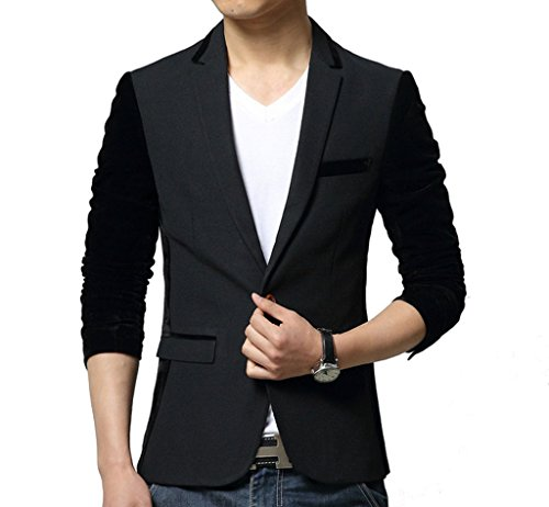 YGT Men's Korea One Button Center Workpatch Suit Sport Blazer Jacket Coat