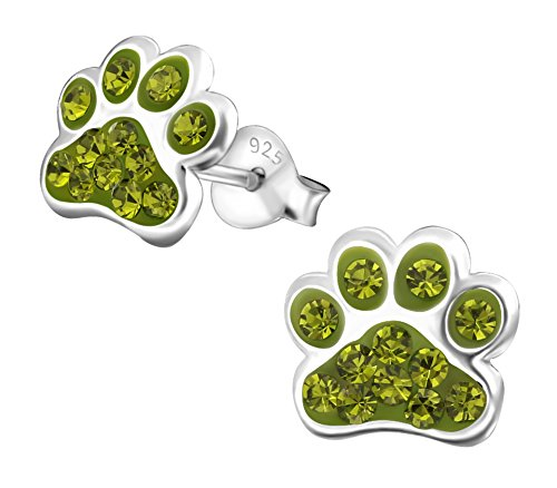 Best Wing Jewelry .925 Sterling Silver''Paw Print/w Crystals'' Children's Stud Earrings (Green Olivine) by Best Wing Children's Earrings (Image #2)