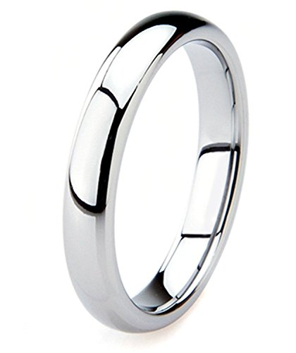King Will BASIC 4mm Classic Polished Comfort Fit Domed Tungsten Metal Ring Wedding Band