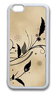 MOKSHOP Adorable Feather and flora flowers leaves parchment vines Soft Case Protective Shell Cell Phone Cover For Apple Iphone 6 (4.7 Inch) - TPU White