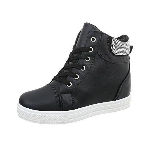 Zapatillas Mujer 7 para Ital Zapatos Design N Negro Zapatillas Altas Plataforma 7wqZWI1f