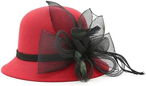 ChenXi Store Lady Derby Dress Church Cloche Hat Bow Bucket Wedding Bowler Hats