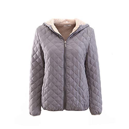 DEATU Women's Winter Plush Lined Zip Up Hooded Jacket Sale Ladies Mom Warm Sweatshirt Coat 6 Color(Khaki,Medium)