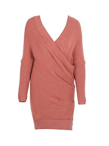 d81886301f2 Simplee Apparel Damen Winter Kleid Elegant Langarm Kreuz V-Ausschnitt  Schulterfrei Bodycon Strickkleid Rot  Amazon.de  Bekleidung