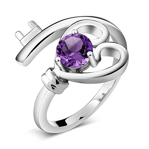 Lady Key Ring - 925 Sterling Silver Purple Amethyst Heart Key Women's Ring 4.00 Ct Round Gemstone Birthstone (Size 7)