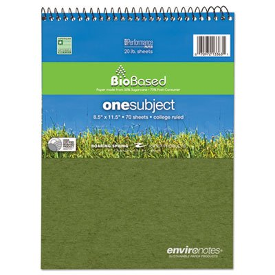 Environotes BioBased Notebook, 8 1/2 x 11 1/2, Flipper, 80 Sheets, College Rule