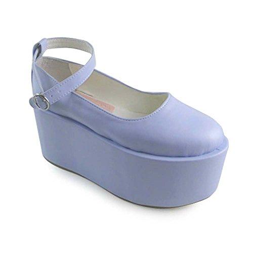 Avacostume Femmes Plate-forme De Couleur Unie Mary Jane Pompes Chaussures Violet