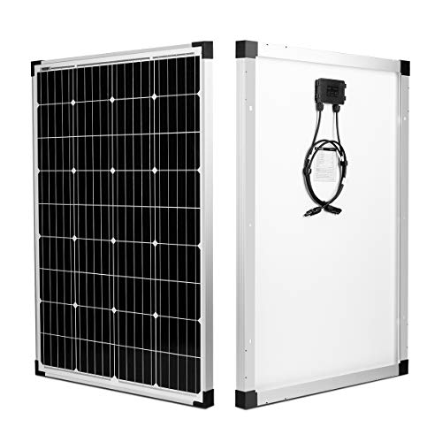 kinverch 100 Watts 12 Volts Monocrystalline Solar Panel for 12 Volt Battery Charging,RV's and Boats