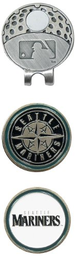 Team Golf MLB Seattle Mariners Golf Cap Clip with 2 Removable Double-Sided Enamel Magnetic Ball Markers, Attaches Easily to Hats