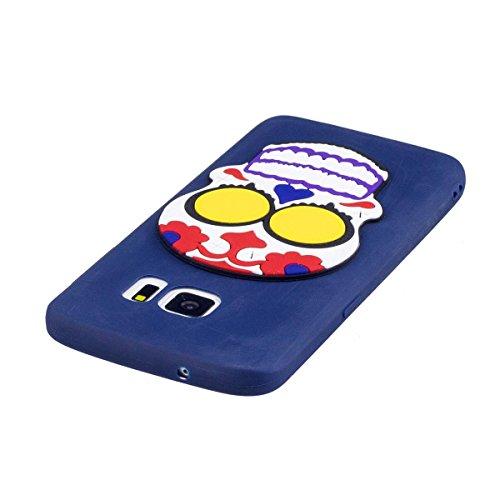 Funda Samsung Galaxy S6 Silicona, Carcasas Samsung Galaxy S6 Case Cover Dibujos Animados Flexible TPU Opaco Ultra Delgado Ultra Ligero Goma Caja Suave Gel Shock-Absorción,Anti-Arañazos y Anti-Choque B Cráneo