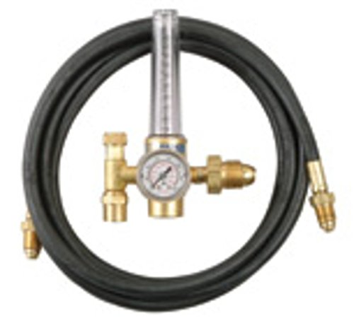 Connection Single Stage Flow Meter - Radnor Model HRF-1425-580 Victor Style Single Stage Argon And Argon And Carbon Dioxide Mix Flowmeter Regulator Kit With 10' Hose, CGA-580