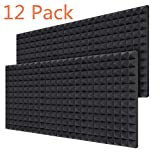 Acoustic Foam Panels 12-Pack 2' X 12' X 16', Ohuhu Sound Absorbing Dampening Wall Foam Pyramid 2 Inch Acoustic Treatment