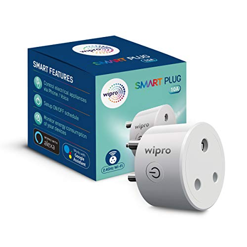 Wipro 10A smart Plug with Energy Monitoring, Suitable for Small Appliances such as Televisions, Electric kettle, Table fans, Set top box, Air purifiers(Works with Amazon Alexa and Google Assistant)