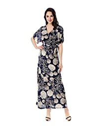 Preferhouse Womens Maxi Dress Plus Size Short Sleeve Navy Blue Printed Shells Pattern