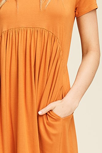 orange Comfy Empire Scoop Sleeve with Dresses Mini Neck Burnt Annabelle Women's Short Waist Pockets 14Bq5xO
