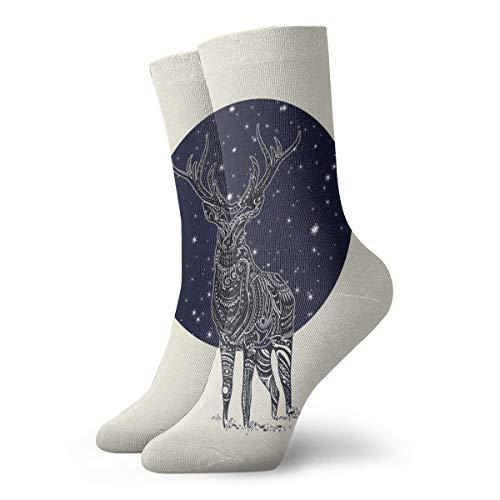Men's Women's Dress Socks Cool Colorful Novelty Funny Casual Night Sky Totem Deer Classic Patterned Crew Socks Gift