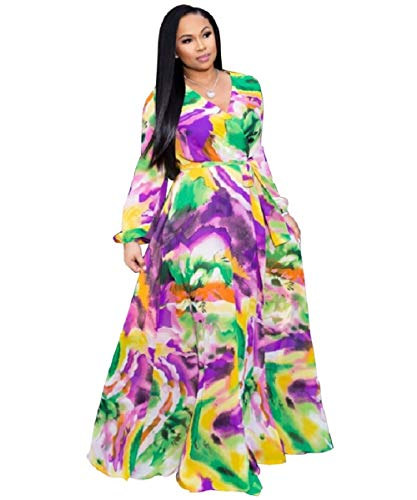 Dora's Womens Chiffon V-Neck Printed Floral Maxi Dress Long Sleeves Dresses High Waisted Belt Plus Size