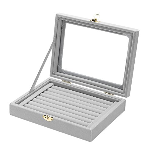 Jocestyle Velvet Glass Ring Display Box Jewelry Holder Storage Organizer Case (04 Ring Box Gray)