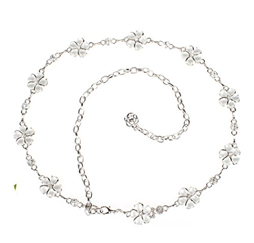 Women's Metal Chain Belt Amiveil Flower Gold Silver (Womens Chain Belts)