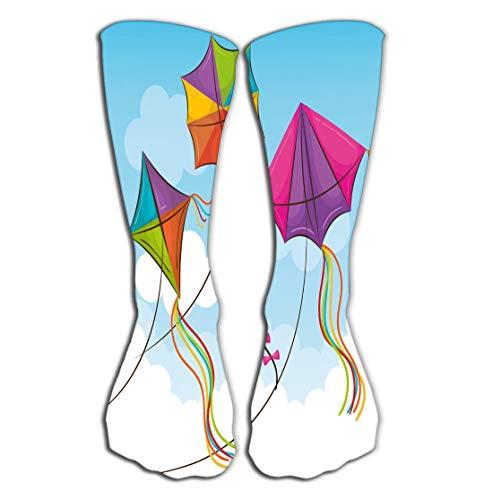 P.Scott Outdoor Sports Men Women High Socks Stocking Kite Flying Sky Design Charming Tile Length 19.7