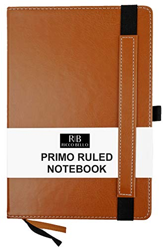 RICCO BELLO Primo Ruled Thick Paper Notebook, Pen Loop, 2 Bookmarks, 5.7 x 8.4 inches (Brown)
