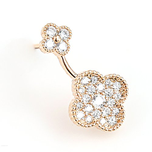 United Elegance - Delicate Petite Pave Set Rose Gold Tone Designer Dual Clover Earrings with Swarovski Style Crystals (Pave Clover) from United Elegance
