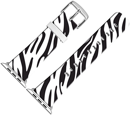 Band for Iwatch Bands 42mm,42mm Leather Strap Wrist Band Replacement W Silver Metal Clasp Compatible for Apple Watch Series 1 Series 2 Series 3 42mm - Zebra Lines Print