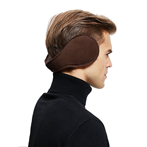 Sheepskin Wool Snug Earmuffs Ear Warmer - Men Winter Suede Earwarmer - Chocolate
