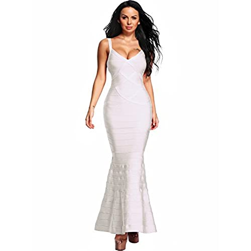Hego Womens V-Neck Backless Fishtail Bandage Formal Evening Dresses Long H2082 (S, White)