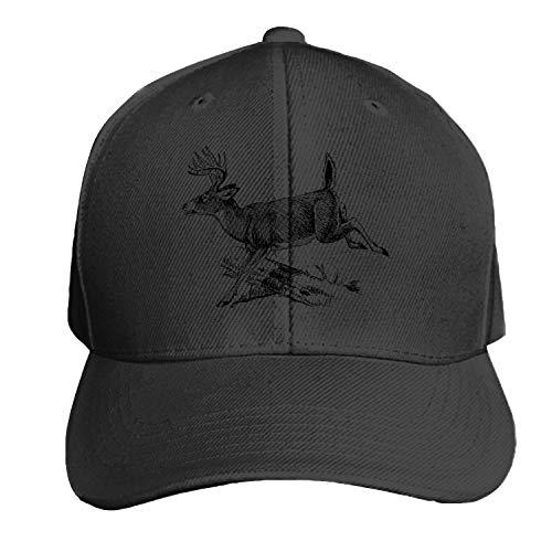 Customized Unisex Trucker Baseball Cap Adjustable Deer Log Jumping Over Leaping Peaked Sandwich Hat