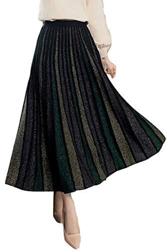 Skirt Waist Woven Elastic (VenuStar Women's Cashmere Knitted Pencil Skirt Elastic Waist Stretch Bodycon Button Down Midi Skirt (Skirt A Black, M))