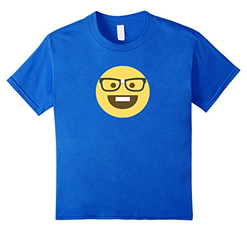 Nerd Costume Ideas Boy (Kids Emoji Nerd Shirt Yellow Face Geek Costume Glasses Gift 8 Royal Blue)