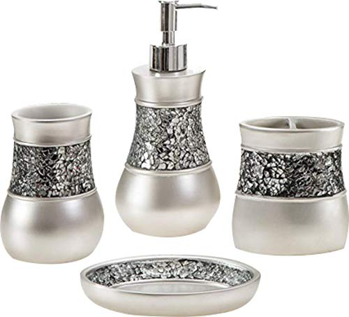 Toucan Treasures 4 Piece Luxury Bathroom Accessories Set, Silver Color, Gift Set, Soap Dish, Lotion Dispenser, Tumbler, Toothbrush Holder, Glass Mosaic (Accessories Sets Luxury Bathroom)