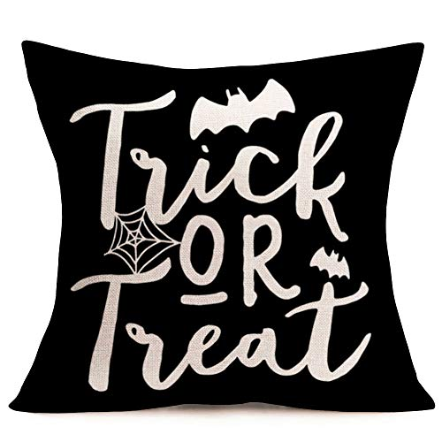 Aremetop Trick or Treat Halloween Throw Pillow Case Cushion Cover Cotton Linen Bat Sipder Web Design Decorative Pillow Covers 18x18 Inches with Words,Happy Halloween Funny Saying