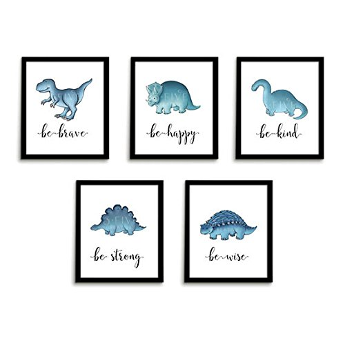 Dinosaur Prints | Nursery Art | Set of 5 Unframed 8 x 10