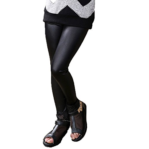(Fitcat Kids Toddler Girls Faux Leather Pants Shiny Strech Leggings Tights (Black, 5T))