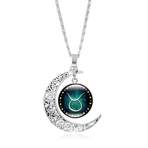 vmree Woman The Zodiac Glass Dome Moon Pendant Necklace Twelve Constellations Charm Collarbone Chain Ideal Jewelry Gift Clothing Accessories (Taurus)