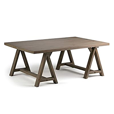 Simpli Home Sawhorse Solid Wood 48 inch Wide Rectangle Modern Industrial Coffee Table in Distressed Grey - Handcrafted with care using the finest quality solid wood Hand-finished with a Distressed Grey finish and a protective NC lacquer to accentuate and highlight the grain and the uniqueness of each piece of furniture. Features a simple and extra thick table top surface and sturdy sawhorse supports - living-room-furniture, living-room, coffee-tables - 419PHli0OQL. SS400  -