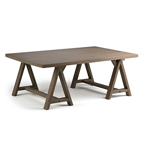 Industrial Wood Coffee Table Distressed Designs: Simpli Home 3AXCSAW-01-GR Sawhorse Solid Wood 48 Inch Wide
