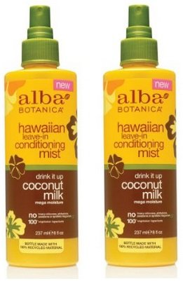 Alba Leave In Conditioner - Alba Botanica Hawaiian Coconut Milk Leave-in Conditioning Mist, (2 Pack of 8 Ounce)